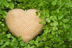 Beige beaded heart hidden in maidenhair fern. Love concept Stock Photos