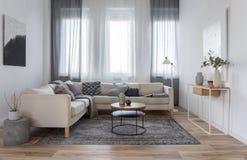 Beige bequemes Ecksofa mit grauen Kissen im eleganten Wohnzimmer Innen mit weißer Wand lizenzfreie stockbilder