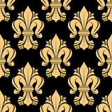 Beige and black fleur-de-lis floral seamless pattern Stock Photography
