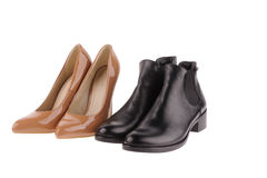 Beige  and black women shoes Royalty Free Stock Images