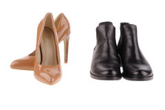 Beige  and black women shoes Stock Photo