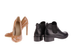 Beige  and black women shoes Stock Images