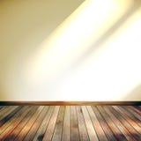 Beige Blauwe muur met lichten houten vloer. EPS 10 Stock Foto