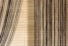 Beige blinds and curtains rope Stock Image