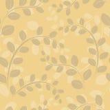 Beige bloemen naadloos patroon met takken Stock Afbeeldingen