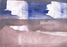Beige Blue abstract watercolor texture Stock Image