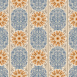Beige and blue ancient vintage seamless ornamental texture. Vector illustration Royalty Free Stock Image