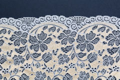 Beige with blue lace. Beige with blue lace on a blue textural background Royalty Free Stock Photo