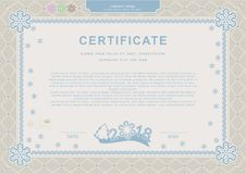 Beige blue official Christmas certificate. XMas official background. Guilloche border with snowflakes Royalty Free Stock Photo