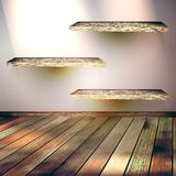 Beige Blue wall with lights wooden floor. EPS 10 Stock Photography