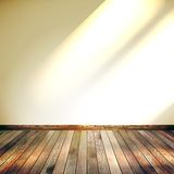 Beige Blue wall with lights wooden floor. EPS 10 Stock Photo
