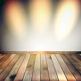 Beige Blue wall with lights wooden floor. EPS 10 Stock Image