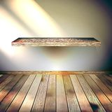 Beige Blue wall with lights wooden floor. EPS 10 Royalty Free Stock Photo