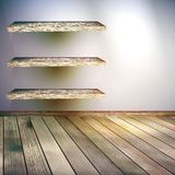 Beige Blue wall with lights wooden floor. EPS 10 Royalty Free Stock Photography