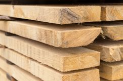 Beige board horizontally stack, natural eco building Stock Photography