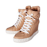 Beige boots with laces Royalty Free Stock Image