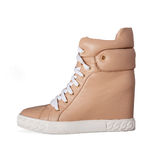 Beige boots with laces Royalty Free Stock Photography
