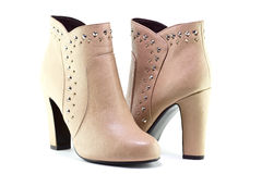 Beige boots for women Royalty Free Stock Image