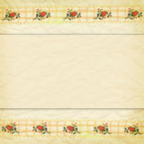 Beige border of lace with roses. Delicate beige background crumpled paper and a border of lace with roses Stock Image