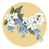 Beige bouquet. Retro-styled floral pattern in beige circle Stock Photo