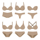 Beige bras and panties. Set of lingerie, beige bras and panties, colorful flat illustration of women underwear. Vector Royalty Free Stock Image