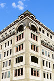 Beige brick wall corner building architecture office tower.  Stock Photography