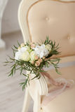 Beige bridal bouquet on a sofa Stock Photography