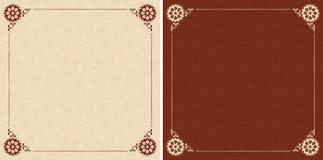 Beige and brown vector cards with floral ornament Royalty Free Stock Photo