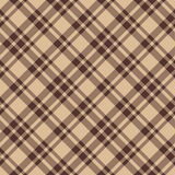 Beige brown diagonal check plaid seamless fabric texture Royalty Free Stock Images