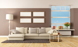 Beige and brown lounge Stock Image