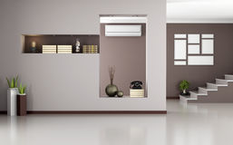 Beige and brown modern interior Stock Photo