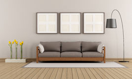 Beige and brown modern lounge Royalty Free Stock Image