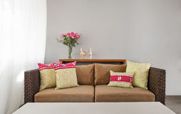 Beige brown sofa in interior setting Stock Images