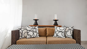 Beige brown sofa in luxurious interior setting Stock Images