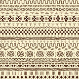 Beige and brown traditional ethnic african mudcloth fabric seamless pattern, vector Stock Photos