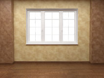 Beige and brown walls with window Stock Image