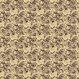beige brun damastast blom- seamless modellrose Royaltyfri Foto