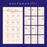 Beige calendar 2019 poster vector stock illustration