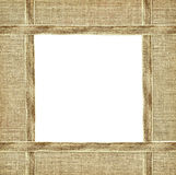 Beige canvas ribbon and textile frame Royalty Free Stock Photo