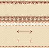 Beige vector card with brown arabic ornament Royalty Free Stock Photo