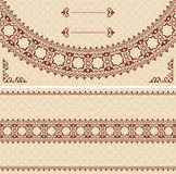 Beige vector card with dark brown ornament Stock Photo