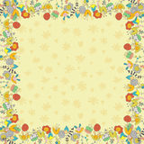 Beige card with flowers Royalty Free Stock Photo