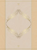 Beige card with gold ornament Royalty Free Stock Photos