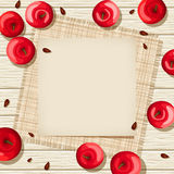 Beige card on a wooden background with red apples and sacking. Vector illustration. Royalty Free Stock Photo