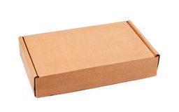 Beige cardboard box. Isolzted on a white background Royalty Free Stock Photos