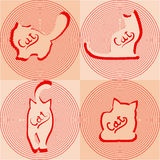 Beige cats silhouettes in different poses. Beige cats silhouettes with red shades in a variety of poses Stock Image