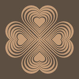 Beige Celtic heart knot - stylized symbol. Made of hearts. Royalty Free Stock Photography