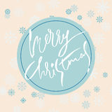 Beige christmas background with christmas blue grunge lettering and snowflakes. Vector illustration. Stock Photos