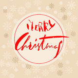 Beige christmas background with christmas red grunge lettering and snowflakes. Vector illustration. Stock Photo