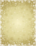 Beige christmas background with  frame of snowflakes and stars, Stock Photography